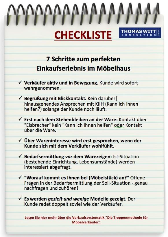 Checkliste optimaler Verkaufsprozess für Möbelverkäufer