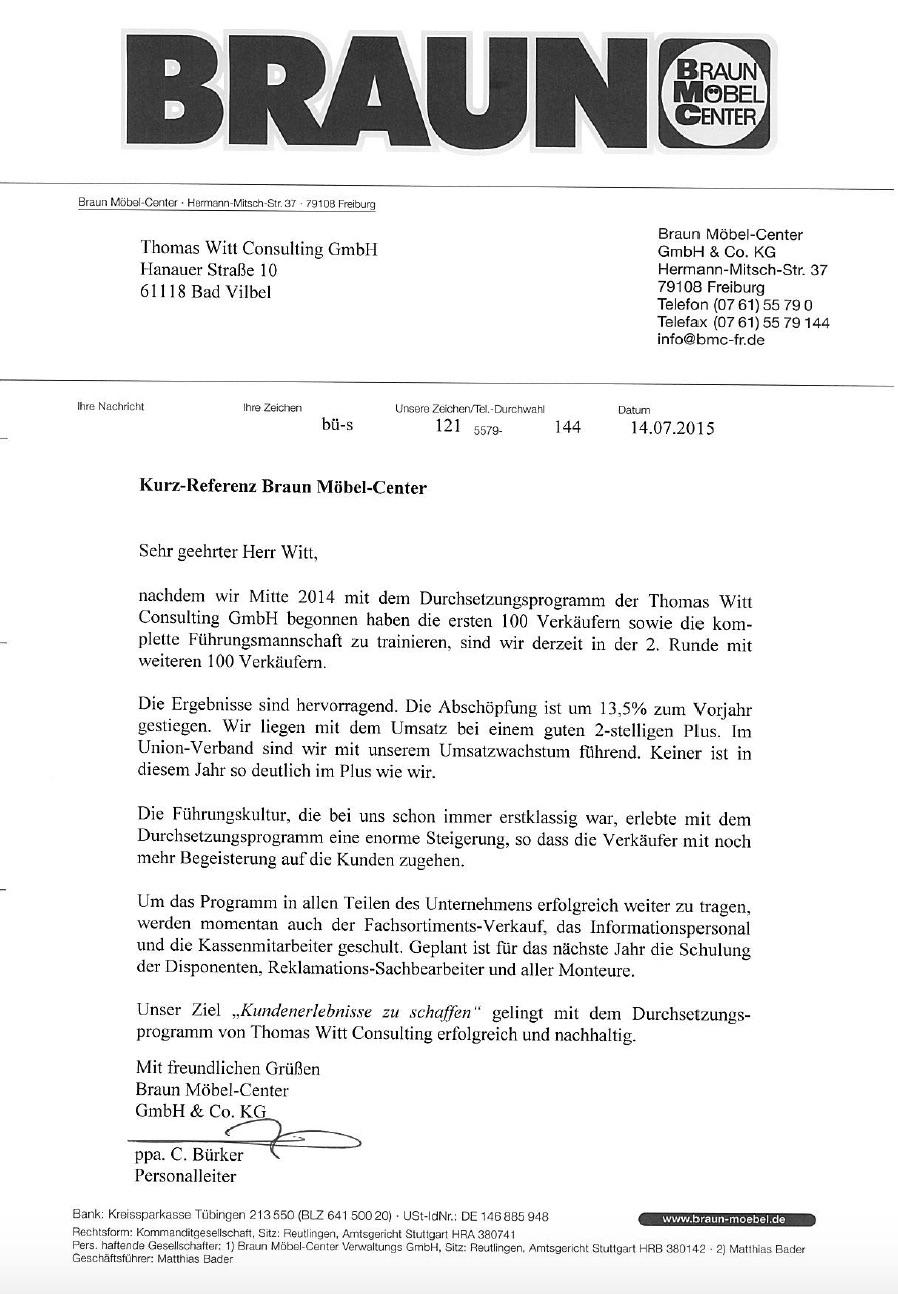 Braun Mobel Center Steigert Abschopfung Um 13 5 Im